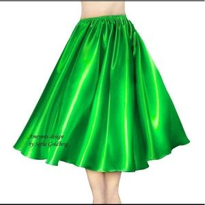 Green Satin Skirt Mid-Calf New All Sizes available